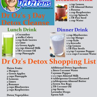 Dr Oz 3 Day Detox & Dr Oz Detox Drink Recipes