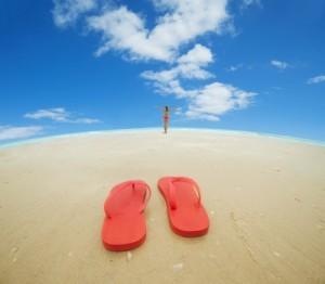 Summer Flip Flops On Beach