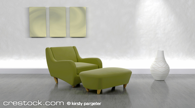 3d render of contemporary arm chair and ottoma...