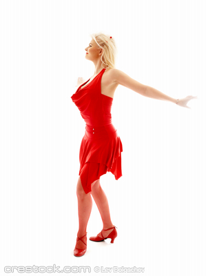 image of dancing lady in red dress over white