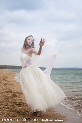 tbeautiful bride  dancing on the beach