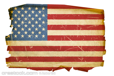 United States Flag old, isolated on white back...