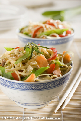 Chinese noodles with vegetables close up shoot