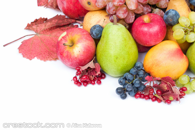 lots of fresh and ripe fruits on white background