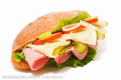 Sandwich on white background. Junk food image ...