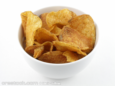 A small bowl of potato chips