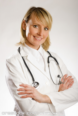 young blond female doctor portrait close up shoot