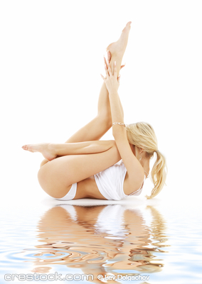 fit blond in white underwear practicing yoga o...