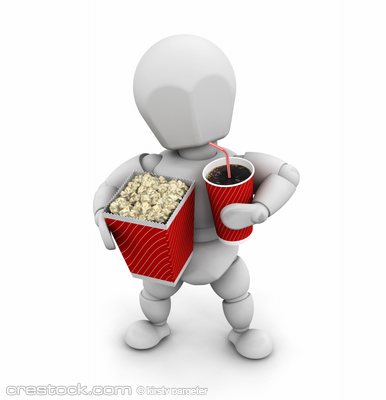 3D render of someone with popcorn and a soda drink