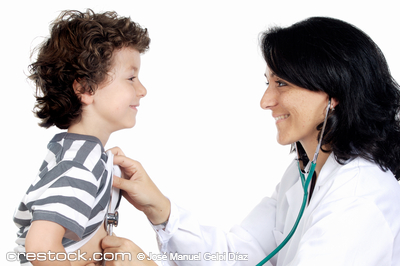 Lady doctor with a child a over white background